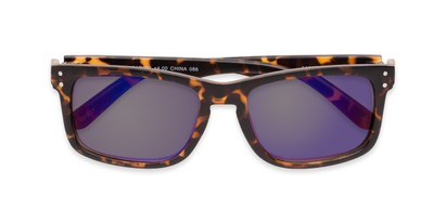 Folded of The Ingle Reading Sunglasses in Tortoise with Blue/Grey Mirror