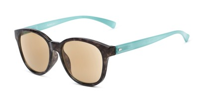 Angle of The Isla Reading Sunglasses in Tortoise/Teal with Amber, Women's Round Reading Sunglasses