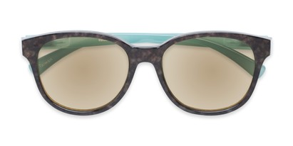 Folded of The Isla Reading Sunglasses in Tortoise/Teal with Amber