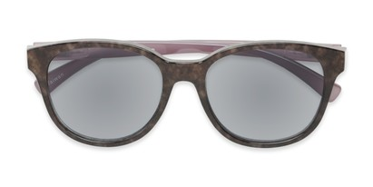 Folded of The Isla Reading Sunglasses in Tortoise/Purple with Smoke