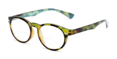 Angle of The Ivy League Bifocal in Green Tortoise/Blue, Women's and Men's Round Reading Glasses