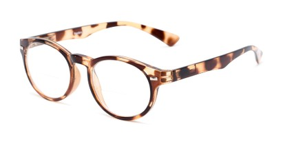 Angle of The Ivy League Bifocal in Brown Tortoise, Women's and Men's Round Reading Glasses