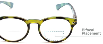 Detail of The Ivy League Bifocal in Green Tortoise/Blue