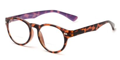 Angle of The Ivy League Bifocal in Brown Tortoise/Purple, Women's and Men's Round Reading Glasses