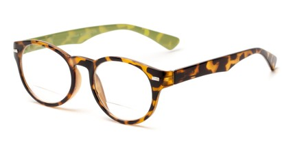 Angle of The Ivy League Bifocal in Brown Tortoise/Green, Women's and Men's Round Reading Glasses