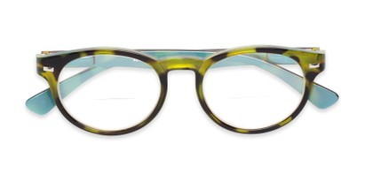 Folded of The Ivy League Bifocal in Green Tortoise/Blue