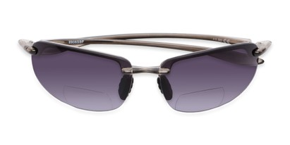 Folded of The Jack Bifocal Reading Sunglasses in Clear Grey with Smoke