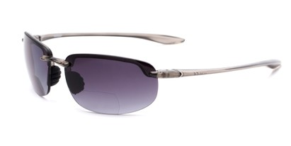 Angle of The Jack Bifocal Reading Sunglasses in Clear Grey with Smoke, Women's and Men's Sport & Wrap-Around Reading Sunglasses
