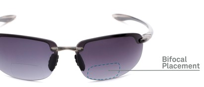 Detail of The Jack Bifocal Reading Sunglasses in Clear Grey with Smoke