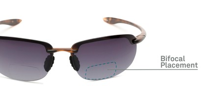 Detail of The Jack Bifocal Reading Sunglasses in Glossy Tortoise with Smoke