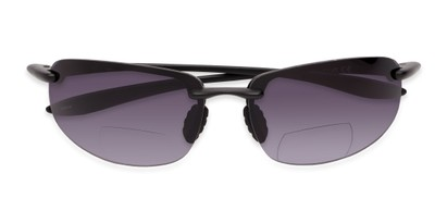 Folded of The Jack Bifocal Reading Sunglasses in Black with Smoke