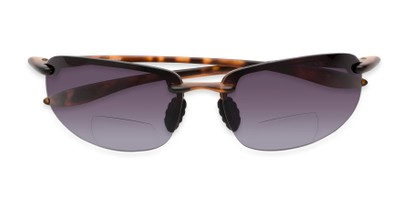 Folded of The Jack Bifocal Reading Sunglasses in Glossy Tortoise with Smoke