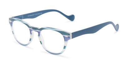 Angle of The Jaden in Blue Stripes, Women's Round Reading Glasses