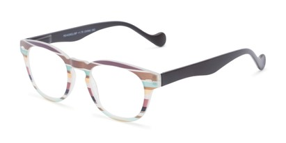 Angle of The Jaden in Brown/Green Stripes, Women's Round Reading Glasses