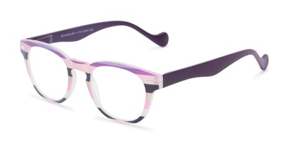 Angle of The Jaden in Pink Stripes, Women's Round Reading Glasses