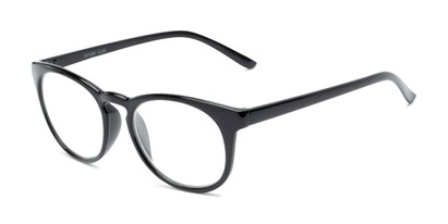 Angle of The James in Black, Women's and Men's Round Reading Glasses