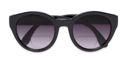 Folded of The January Bifocal Reading Sunglasses in Black with Smoke