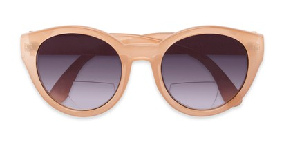 Folded of The January Bifocal Reading Sunglasses in Light Brown with Smoke