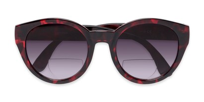 Folded of The January Bifocal Reading Sunglasses in Red Tortoise with Smoke