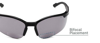 Detail of The Jared Bifocal Safety Reading Sunglasses in Black with Smoke Lenses