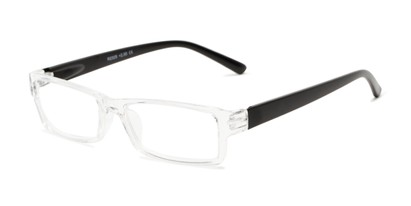 Angle of The Jax in Clear/Matte Black, Women's and Men's Rectangle Reading Glasses
