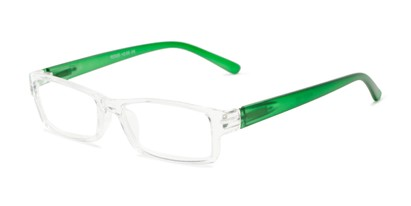 Angle of The Jax in Clear/Matte Green, Women's and Men's Rectangle Reading Glasses
