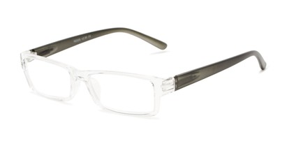 Angle of The Jax in Clear/Matte Grey, Women's and Men's Rectangle Reading Glasses