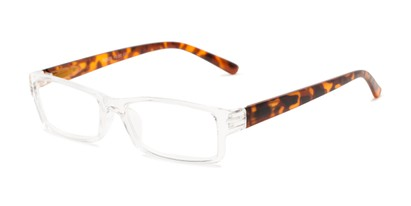 Angle of The Jax in Clear/Matte Tortoise, Women's and Men's Rectangle Reading Glasses