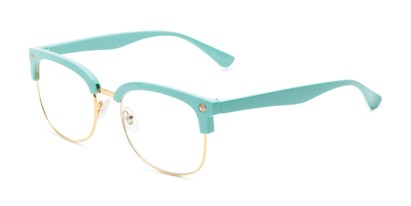Angle of The Jean in Light Blue, Women's Browline Reading Glasses