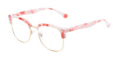 Angle of The Jean in Pink Marble, Women's Browline Reading Glasses
