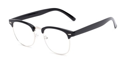 Angle of The Jet Setter in Black, Women's and Men's Browline Reading Glasses