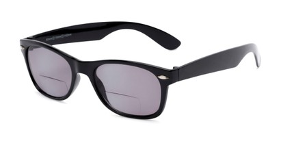 Angle of The Joliet Bifocal Reading Sunglasses in Black with Smoke, Women's and Men's Retro Square Reading Sunglasses
