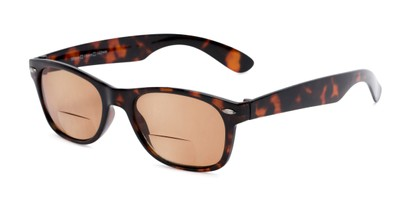 Angle of The Joliet Bifocal Reading Sunglasses in Tortoise with Amber, Women's and Men's Retro Square Reading Sunglasses
