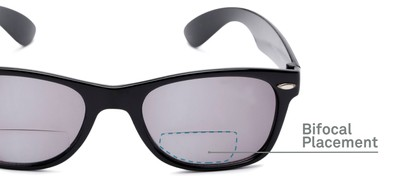 Detail of The Joliet Bifocal Reading Sunglasses in Black with Smoke