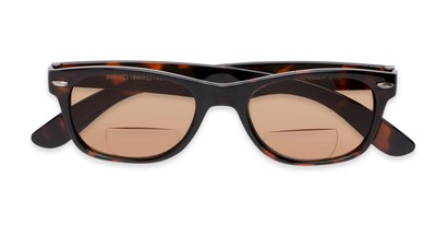 Folded of The Joliet Bifocal Reading Sunglasses in Tortoise with Amber