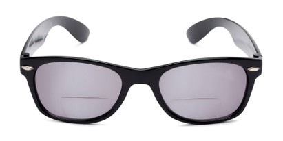Front of The Joliet Bifocal Reading Sunglasses in Black with Smoke