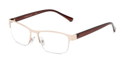 Angle of The Jones Multifocal Reader in Gold/Brown, Women's and Men's Browline Reading Glasses