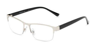 Angle of The Jones Multifocal Reader in Silver/Black, Women's and Men's Browline Reading Glasses