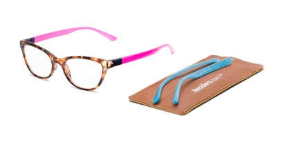 Detail of The Joy Convertible Temple Reader in Tortoise: Includes Hot Pink and Aqua Temple Sets