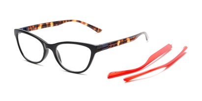 Angle of The Joy Convertible Temple Reader in Black: Includes Red and Tortoise Temple Sets, Women's Cat Eye Reading Glasses