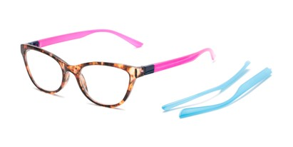 Angle of The Joy Convertible Temple Reader in Tortoise: Includes Hot Pink and Aqua Temple Sets, Women's Cat Eye Reading Glasses