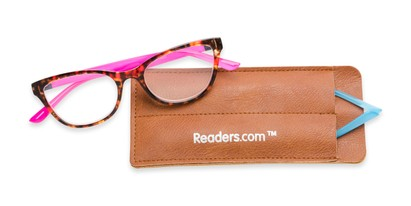 Folded of The Joy Convertible Temple Reader in Tortoise: Includes Hot Pink and Aqua Temple Sets