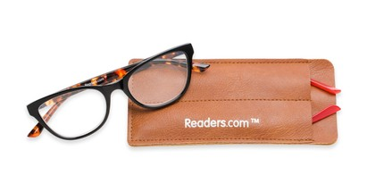 Folded of The Joy Convertible Temple Reader in Black: Includes Red and Tortoise Temple Sets