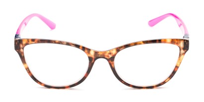Front of The Joy Convertible Temple Reader in Tortoise: Includes Hot Pink and Aqua Temple Sets