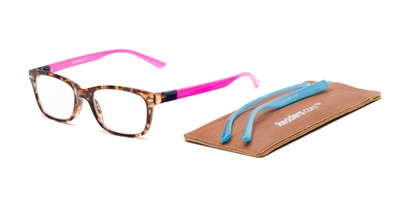 Detail of The Juno Convertible Temple Reader in Tortoise: Includes Hot Pink and Aqua Temple Sets