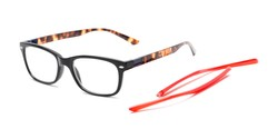 Angle of The Juno Convertible Temple Reader in Black: Includes Red and Tortoise Temple Sets, Women's and Men's Rectangle Reading Glasses