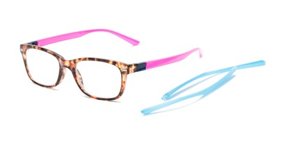Angle of The Juno Convertible Temple Reader in Tortoise: Includes Hot Pink and Aqua Temple Sets, Women's and Men's Rectangle Reading Glasses
