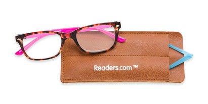 Folded of The Juno Convertible Temple Reader in Tortoise: Includes Hot Pink and Aqua Temple Sets