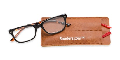 Folded of The Juno Convertible Temple Reader in Black: Includes Red and Tortoise Temple Sets