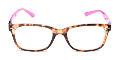 Front of The Juno Convertible Temple Reader in Tortoise: Includes Hot Pink and Aqua Temple Sets